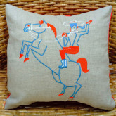 Cowgirl-on-Horse Pillow